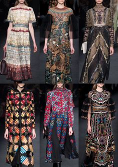 VALENTINO I Realistic feather Prints – Enchanted Forests – Mythical Creatures – Decorative Lace Ensembles – Quilted Patchworks – Simple Flower Shapes – Clustered Florals – Embroidered Butterflys – Chinese Ornament I PARIS Fashion Week