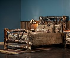 This Beaver Creek Aspen Broken Arrow Log Bed is unique by using darker aspen logs which enhances the rustic appeal of log furniture. Perfect for making a statement with any bedroom decor for your cabin, log home, lodge or lake home.