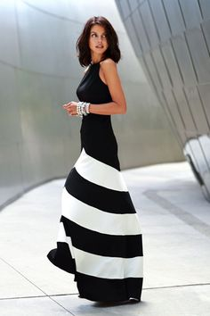 Black/White Sleeveless Striped Ankle Length Dress