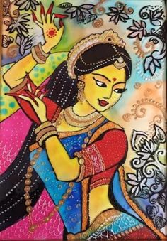 Dance Paintings, Indian Art Paintings, Portrait Paintings, Madhubani Art, Madhubani Painting, Texture Painting, Fabric Painting, Diy Art Projects Canvas, Art Sketches