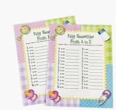 24 Baby Necessities A-Z Shower Game party favor #OTC #BabyShower