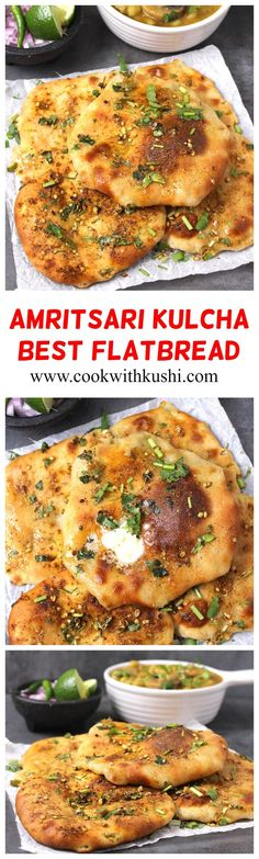 Amritsari Kulcha Potato Kulcha Or Naan Is A Delicious Flatbread That Is Crispy On The Outside With Melt In Mouth Texture From The Inside And Topped With Aromatic Spices. This Is One Of The Best Stuffed Flat Bread That You Should Not Miss To Try Out. Best Bread Recipe, Quick Bread Recipes, Healthy Recipes, Delicious Recipes, Baking Recipes, Brunch Recipes, Breakfast Recipes, Dinner Recipes, Aloo Recipes