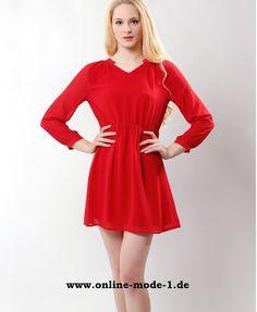 Langarm Chiffon Sommerkleid Rot