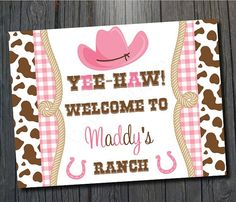 Cowgirl BIrthday Party Welcome Sign $8 #cowgirlparty #cowgirlbirthday #girlsbirthday