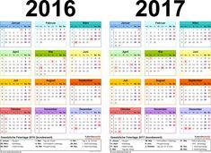 Word-Vorlage für Zweijahreskalender 2016/2017 (Querformat, 1 Seite, in Farbe)