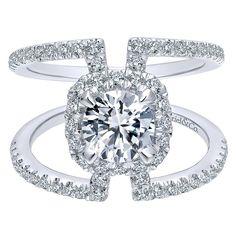 ER12641R4W44JJ Engagement Ring 14k White Gold Diamond Halo 14k White Gold