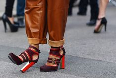 maroon and red straps block heel combo.    aldo rise x flare