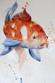 Original Watercolor Painting Koi Fish Gold Fish for children Pintura original de acuarela Koi Fish Gold Fish para niños Koi Fish Drawing, Fish Drawings, Art Drawings Sketches, Watercolor Illustration, Watercolor Paintings, Collage Background, Decoupage, Art Sketchbook, Goldfish