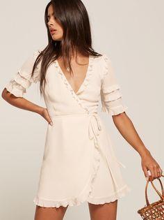 Leanna white ruffle wrap mini dress  Reformation