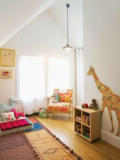 the boo and the boy: eclectic kids' rooms...love the giraffe....can make a cool one out of fabric...some kind of flower or animal or something for the girls room