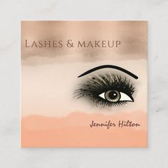 Rose gold cantaloupe champagne watercolor makeup square business card- Ad- A striking business card for a lash tech! Spa Design, Salon Design, Makeup Salon, Eye Makeup, Salon Promotions, Becoming An Esthetician, Makeup Artist Business Cards, Business Hairstyles, Unique Makeup