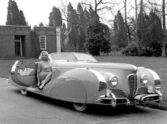 Diana Dor and her one off Saoutchik built Delahaye 175s. 1949.