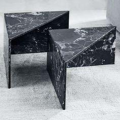 Like pieces of a puzzle, these marble tables can be arranged together as a side table or a staggered coffee table. Rustic Side Table, Black Side Table, White Side Tables, Marble Furniture, Cool Furniture, Furniture Design, Marble Block, Hallway Console, Block Table