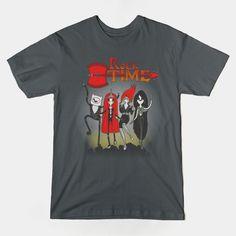 """Rock Time"" by Paula García.  Available here: https://www.teepublic.com/t-shirt/116449-rock-time  #tshirt #adventuretime #kiss #rock #mashup #rocktime #teepublic"