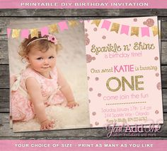 Sparkle and Shine it's Birthday Time - DIY Printable Gold First Birthday Party… Pink Gold Birthday, Gold First Birthday, Glitter Birthday, 1st Birthday Girls, First Birthday Parties, First Birthdays, Personalized Birthday Invitations, Glitter Invitations, First Birthday Invitations
