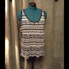 """Aztec tank with lace! Aztec print tank top with full lace back. Size 1X, bust 22"""", length 26"""", fabric 100% Rayon front 100% Nylon back. Ambiance Apparel Tops Tank Tops"""