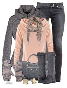 """Peach and Gray"" by jackie22 ❤ liked on Polyvore featuring Paige Denim, Therapy, Moncler, Balenciaga, Steven, Pieces and Hive & Honey"
