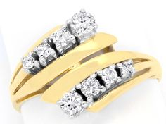 Foto 2, BRILLIANT-DIAMANT-RING GELBGOLD WEISSGOLD, RIVER LUXUS!, S6947
