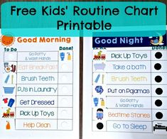 Free Kids' Morning & Night Routine Charts: If you have kids, have them help you to get into a routin Bedtime Routine Chart, Morning Routine Chart, Kids Routine Chart, Morning Routine Kids, Night Routine, Bedtime Routines, Evening Routine, Daily Routine Kids, Routine Printable