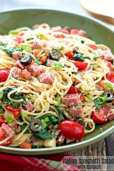 Italian Spaghetti Salad with Spinach- use tofu instead of salami and nutritional yeast instead of cheese........