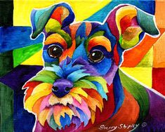 8x10 SCHNAUZER Dog Art Print by Sherry Shipley by sherrysdesigns, $19.95