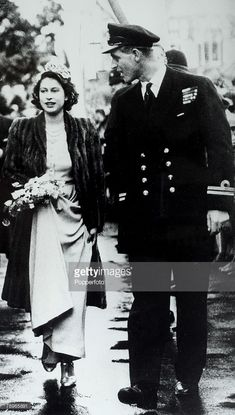 British Royalty, London, England, 26th October 1946, Princess Elizabeth (now the Queen) and Prince Philip of Greece, (later The Duke of Edinburgh) act as Bridesmaid and usher at the wedding of Patricia Mountbatten & Lord Brabourne