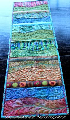 MarveLes FREE SPIRIT SPRING  Quilted table runner in Lime Green, Reds, Orange, Turquoise Blue, Ribbons, Home Decor. $229.50, via Etsy.