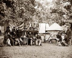 Bealton, Virginia. Regimental staff 93d New York Infantry. (Morgan Rifles). It was made in 1863 by O'Sullivan, Timothy H., 1840-1882.    The photo illustrates United States during Civil War.