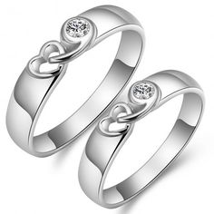 Shop Our 925 Silver Inlay CZ Hollow Heart-Shaped Fashion Couple Rings With The Lowest Price And Get Extensive Classic And Fashion Ring Collection Today. Engagement Rings Couple, Promise Rings For Couples, Couple Rings, Engagement Ring Settings, Rings For Men, Ring Boy, Hollow Heart, Wedding Rings Solitaire, Ring Designs