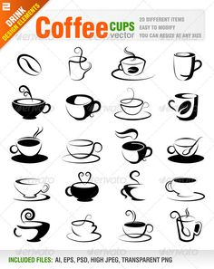 Coffee Design Elements #GraphicRiver Vector set of 20 different coffee design elements. (Cool wire ideas hammered/forged ideas)