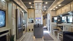 Beachfront and Slate Grey decor in this Luxe 45FB Toy Hauler Luxury Fifth Wheel, Fifth Wheel Toy Haulers, Build Your Own, Slate, Toys, Building, Table, Furniture, Grey