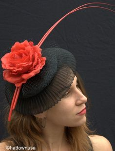 Women's Kentucky Derby Red Rose Pill Box Fascinator Sinamay with Naked Feather | eBay