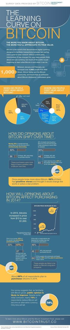 We surveyed over people from Wall Street to Silicon Valley, on their thoughts about bitcoin. Take a look at the infographic below to see just how optimistic folks are about the future of this digital currency. Investing In Cryptocurrency, Cryptocurrency Trading, Bitcoin Cryptocurrency, Blockchain Cryptocurrency, Bitcoin Mining Rigs, What Is Bitcoin Mining, Bitcoin Miner, Finance, Digital Coin
