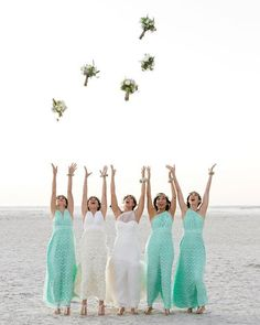 Beach wedding inspo! Dress your bridesmaids in the Goddess By Nature Mint Lace Multiway dresses & Chiffon Rosettes Ballgown from our Vintage Lace Collection and pair with anklets for the sand. Just look how cute bride Olympia and her ladies look! #wedding #bridesmaids #multiway #dresses Shop online www.goddessbynature.com — with Angie Jimenez, Jannete Sanchez and Claudia Lujan.