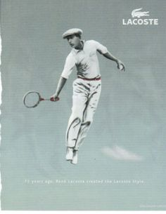 Advertising for Lacoste Tennis Fashion, Nike Fashion, Sport Fashion, Vintage Tennis, Vintage Ads, Vintage Images, Crocodile Logo, Tennis Tips, Tennis Lessons