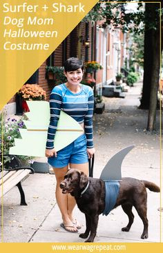 Make a simple DIY Halloween Couples Costume With your Dog: Surfer girl and shark! This is perfect for dog and their owners to trick or treat! Shark Costumes, Diy Dog Costumes, Halloween Couples, Couple Halloween Costumes, Halloween Fun, Costume Ideas, Socializing Dogs, Dog Friends, Dog Mom