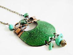 Enamel necklace  forestgreen  greenn pendant by Doorsignforyou, $65.00