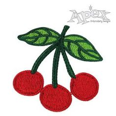"Bing Cherry Embroidery Design. You get two Cherry Designs. Polka dotted cherries and without dots. Size: 2.11"" x 2.06"""