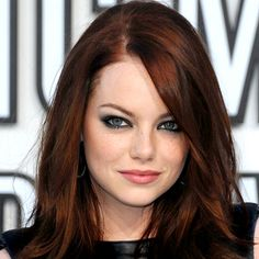 Emma Stone... I love this look! Subtle variations in the red to form highlights and movement... #chestnut #auburn #long hair
