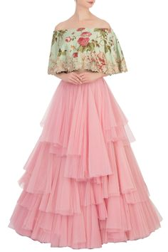 Shop Anushree Reddy Layered Lehenga Set , Exclusive Indian Designer Latest Collections Available at Aza Fashions Indian Gowns Dresses, Indian Fashion Dresses, Indian Designer Outfits, Fashion Clothes, Women's Fashion, Indian Wedding Outfits, Indian Outfits, Net Lehenga, Bridal Lehenga