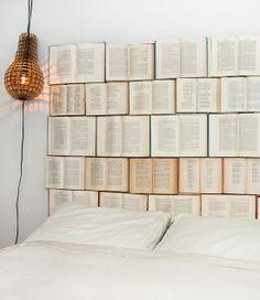 DIY Book headboard!!!  I would only use the books I hate... like math books!