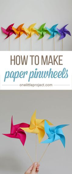 How to make a pinwheel - these paper pinwheels are so pretty! They are SIMPLE to make, look beautiful, and they really spin! How to make a pinwheel - these paper pinwheels are so pretty! They are SIMPLE to make, look beautiful, and they really spin! Vbs Crafts, Arts And Crafts, July Crafts, Tree Crafts, Simple Paper Crafts, Paper Crafts Kids, Crafts To Make, How To Make Pinwheels, Pinwheel Craft