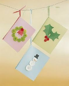 Button Christmas Cards Kids can use buttons to create a variety of holiday shapes on cardstock for a charming Christmas card. Use craft glue to affix buttons and construction paper shapes to the card. Paper Crafts For Kids, Christmas Crafts For Kids, Simple Christmas, Handmade Christmas, Holiday Crafts, Christmas Diy, Origami Christmas, Family Christmas, Paper Crafting