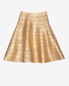 Herve Leger Gold Foil Bandage Flare Skirt