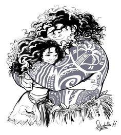 Maui Moana hug [RAW] by Skydrathik