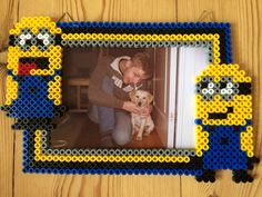 Minion photo frame hama perler beads by Susse Cevin