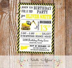 Tractor Dirt Bulldozer Yellow Black White Construction Stripes Modern Birthday Party Invitation - Tractor Construction Party Invitation by NotableAffairs