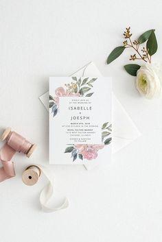 Blush Wedding Invitation Printable Wedding Invitation