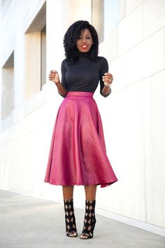 Mock Neck Top x Quilted Swing Skirt