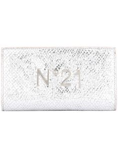 logo plaque high shine wallet, Women's, Grey, Leather